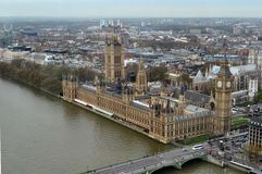 English Parliament. View from London Eye on English Parliament and Big-Ben Royalty Free Stock Image