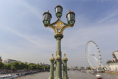 View on London Eye and lighthouse on the Westminster Bridge, London, United Kingdom Stock Images