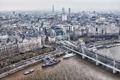 View from the London Eye Millennium Pier Royalty Free Stock Photo