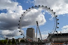 View of London Eye on river Themes and London royalty free stock images