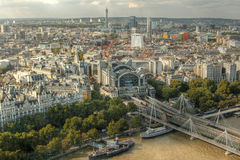 View of London from London Eye. View of London and part of the Thames River from atop the London Eye Stock Photo
