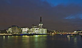 View of London in night. View of London in night from the river Thames Royalty Free Stock Image