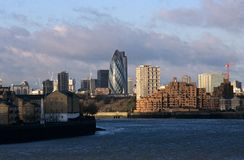 A view of London from the River Thames. royalty free stock photos