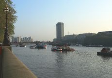 View of London from River Thames embankment. In May 2008 royalty free stock image