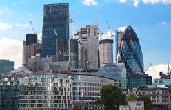 The view of London`s city hall and modern skyscrapers . stock images