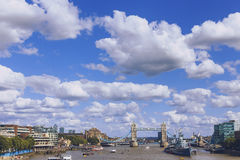 View of London`s cityscape from the river thames, including the Royalty Free Stock Photography