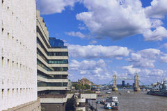 View of London`s cityscape from the river thames, including the Royalty Free Stock Photos