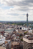 View of London skyline. High angle shot of the Telecom Tower and office buildings taken from the top of the Centrepoint building Royalty Free Stock Photo