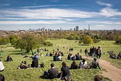 View of London skyline from Primrose Hill. London, 2017. stock images