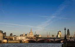 View of the London skyline on a sunny day, beautiful bridge and Stock Photos