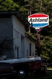 Abandoned Ashland Gasoline Station - Kentucky. A view of a long abandoned Ashland gasoline station in southern Kentucky royalty free stock images