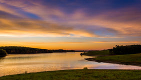 View of Long Arm Reservoir at sunset, near Hanover, Pennsylvania Stock Photos