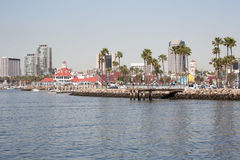 View of Long Beach Califronia cityscape from the water. Royalty Free Stock Photography