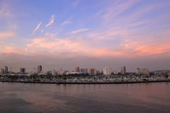 A view of Long Beach marina, California from a cruise ship duri Royalty Free Stock Photos