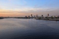 A view of Long Beach marina, California from a cruise ship duri Royalty Free Stock Photography
