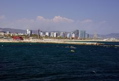 Barcelona North Beach viewed from the sea stock image