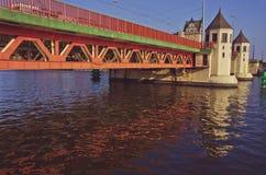 View on Long bridge in Szczecin, Poland. River Odra Stock Photos