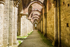 View of the long hall in the ruined church Royalty Free Stock Photography