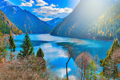 View of Long Lake at autumn day time. Royalty Free Stock Image