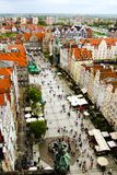 View on Long MArhet in Gdansk in Poland. View on Long Market, a touristic attraction in Danzig in Poland. Photo taken from city hall tower. View into direction Royalty Free Stock Photos
