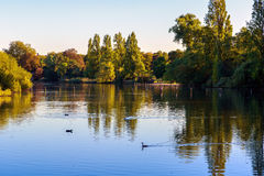 View of The Long Water in Hyde Park. London Royalty Free Stock Photography