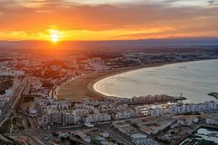 Beach in Agadir city at sunrise, Morocco Royalty Free Stock Images