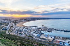 Beach in Agadir city at sunrise, Morocco Royalty Free Stock Image