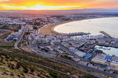 Beach in Agadir city at sunrise, Morocco Royalty Free Stock Photography