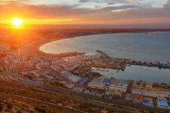 Beach in Agadir city at sunrise, Morocco. View of long, wide beach in Agadir city at sunrise, Morocco Stock Photography