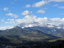 View of Longs Peak in Rocky Mountain National Park on a cloudy d Stock Photo