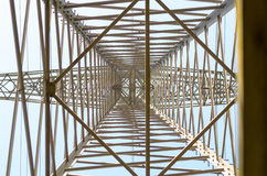 View looking directly up into power lines Royalty Free Stock Images