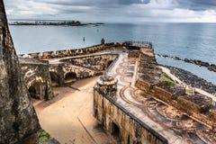 View looking down of Castillo San Felipe del Morro corner royalty free stock photos