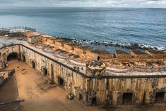 View looking down of Castillo San Felipe del Morro inside walls. View looking down on the corner of the Castillo San Felipe del Morro rain soaked walkways and Stock Images
