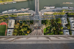 View looking down from the eiffel tower, paris , france Stock Photos