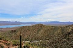 Tonto National Monument Cliff Dwellings, National Park Service, U.S. Department of the Interior. View looking down on to Roosevelt Lake from the Cliff Dwellings stock photo