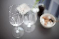 View looking down on wine glasses. View looking down on wine  and water glasses on a restaurant table Royalty Free Stock Images