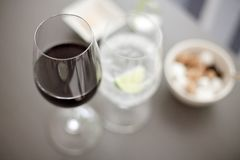 View looking down on wine glasses. View looking down on wine  and water glasses on a restaurant table Stock Photography