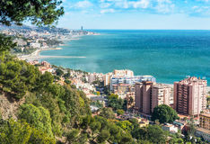View looking East from Malaga Harbor Royalty Free Stock Images