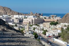 Old Town Muscat, Oman in the sun stock photography