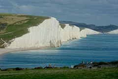 View of Seven Sisters chalk cliffs, Sussex UK royalty free stock photos