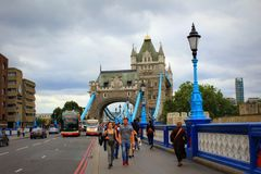 Tower Bridge Road Central London United Kingdom. View of A100 looking south to Tower Bridge-the most famous bridge in the world, and the Tower of London walls Royalty Free Stock Image
