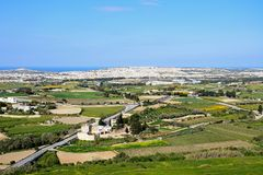 View of Mosta and countryside, Malta. View looking towards Mosta from the Citadel, Mdina, Malta, Europe Stock Photos