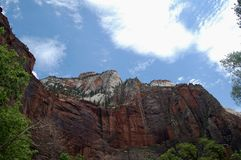 Angels Landing at Zion National Park. This is a view looking up at Angels Landing at Zion National Park Royalty Free Stock Photo