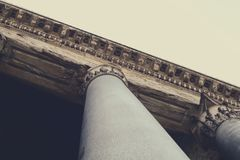 View Looking Up a Column Attached to a Building Roof Stock Images
