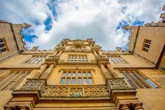 Old / historic building in Oxford, England. View looking upwards of a college building in Oxford university england Royalty Free Stock Photography