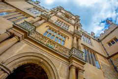 Old / historic building in Oxford, England. View looking upwards of a college building in Oxford university england Stock Photography