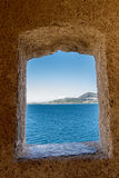 View through a lookout at Calvi citadel Royalty Free Stock Photography