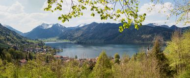 View from lookout point to lake schliersee and bavarian alps Royalty Free Stock Image