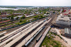 View from the lookout of Samara Rail Terminal Stock Photos
