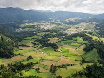 View from lookout, Sao Miguel, Azores Islands, Portugal. View of patchwork farmland and villages from a lookout near Furnas, Sao Miguel, Azores, Portugal stock images